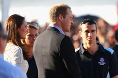 Prince William and Catherine, talk to surf life-savers at Manly Beach during a surf life-saving presentation on April 18, 2014 in Sydney, Australia.