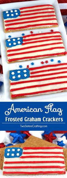 American Flag Frosted Graham Crackers - gather the kids, our delicious buttercream frosting and a box of graham crackers and make this fun patriotic snack that is perfect for a 4th of July party or a Memorial Day barbecue. A Fourth of July dessert was never so easy to make or yummy to eat. Pin this adorable 4th of July Treat for later and follow us for more great 4th of July Food Ideas.