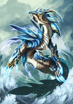 Legend water copy by pamansazz on DeviantArt Mythical Creatures Art, Mythological Creatures, Magical Creatures, Cool Dragons, Water Dragon, Fantasy Beasts, Dragon Knight, Dragon Artwork, Dragon Pictures