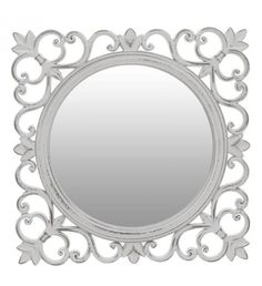 WOODEN WALL MIRROR IN ANTIQUE GREY COLOR 29X1X29