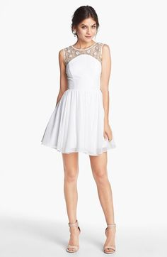 Way-In Embellished Yoke V-Back Fit & Flare Dress (Juniors) (Online Only) available at #Nordstrom