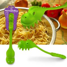 This is an amazing pasta spoon.  If you put spinach in your pasta it sometimes gets stuck in his teeth which makes me laugh every time.