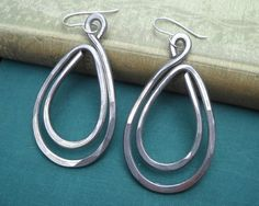 Big Long Double Teardrop Earrings - Light Weight Aluminum - Hammered Metal Wire - Very Big Earrings - Women - Hoops