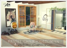 Sims 4 Designs: Pastel Chair and Ottoman and Window Coffee Table • Sims 4 Downloads