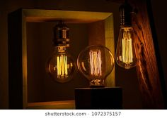 Decorative lighting, edison bulb lamps dark oak wood surface
