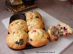 Les plats cuisinés de Esther B: Muffins bleuets (et fraises)
