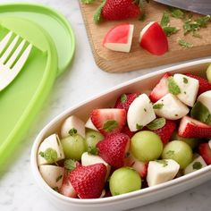 Fruit Salad with Honeydew, Strawberry & Cheese