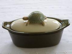 Turtle Pottery Butter Boat 3 Piece Dark Olive by vdavidsonpottery, $21.99