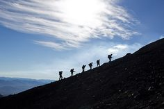 Climbing a volcano in Chile