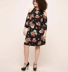 Floral Cold Shoulder A-Line DressFloral Cold Shoulder A-Line Dress,