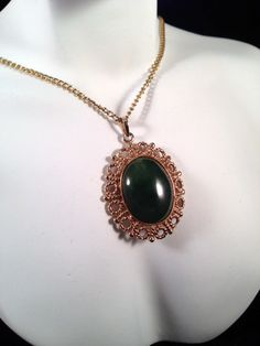 Vintage Golden and Green Pendant on Chain  N365 by GraffitiCat, $5.50