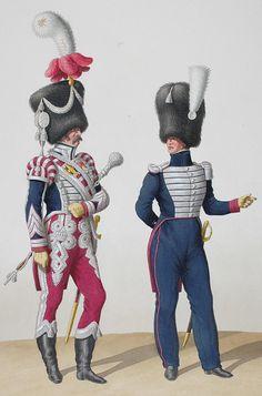 1830. Garde Royale. Infanterie (1er Régiment). Tambour-Major, Adjudant Sous-Officier.
