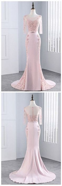 Pink Sheath Sweep Train Sheer Neck 3/4 Sleeve Sheer Back Appliques Prom Dress,Formal Dress P106 #LongPromDresses, #CheapPromDress, #PartyDresses, #PromGowns, #GownsProm, #EveningDresses, #CheapPromDresses, #DressesforGirls, #PromDressUK, #PromSuit, #PromDressBrand, #PromDressStore, # Party Dress #GraduationDress