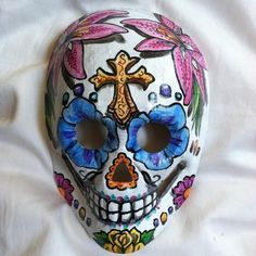 Sugar Skull Mask Day of The Dead Dia de Los Muertos Hand Painted Art | eBay