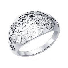 Кольцо из серебра c фианитами