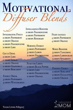 Motivational Diffuser Blends for different uses of essential oils. How can you mix up and use your essential oils like peppermint, orange, rosemary, bergamot and many more. Mix up a blend to give yourself some energy in the morning or to boost your mood. Essential Oil Diffuser Blends, Doterra Essential Oils, Doterra Diffuser, Essential Oils Energy, Relaxing Essential Oil Blends, Oils For Energy, Doterra Blends, Oils For Diffuser, Valor Essential Oil Uses