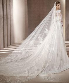 gorgeous lace cathedral veil :)