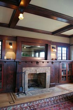 Arts &  Crafts | Bungalow | Fireplace | This built-in mantle made with mixed-grain fir has been masterfully installed by Craftsman Design of Portland.