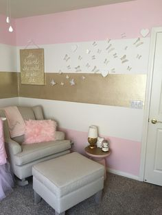 Audrey's nursery #pink #gold #nursery #babygirl #roomdesign #butterfly #stripes