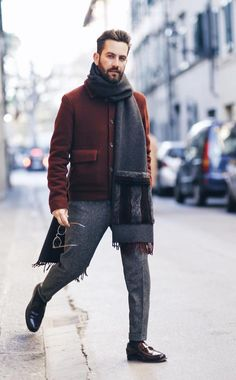 Overcoat with Printed Scarf For Winters