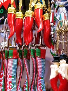 """Italian horns - A cornicello or cornetto, Italian for """"little horn"""" or """"hornlet"""", is an amulet worn to protect against the evil eye."""