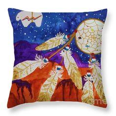 SOUTHWESTERN DECOR #Dreamcatcher #THROW-PILLOW #ACCENTPILOW #DESIGNERPILLOW #SouthwesternDecor  #Decoratingideas #Watercolor#WatercolorThrowPillows Mix& match with other pillows or #wallart #Artprints #forsale view more ellyn-levinson.artistwebsites.com