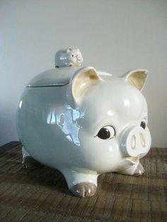 Vintage Otagiri Piggyback Pig Cookie Jar by sofralma on Etsy