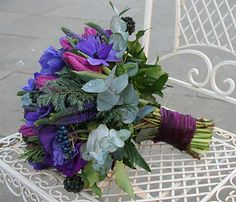 Purple Anemones, Lissianthus, Tulips, Veronica, Albiflora & Veronica.