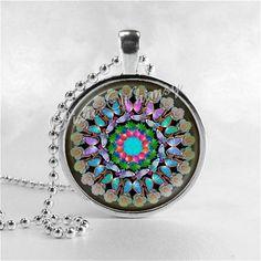 MANDALA Necklace, Mandala, Mandala Jewelry, Buddhism, Hindu, Bohemian, Universe, Boho Chic, Glass Photo Art Necklace, Geometric, Meditation
