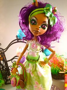 "OOAK MONSTER HIGH Doll Clawdeen Wolf Repaint ""Happy Easter"" Doll / Embellished Outfit / Accessories / Pet., via Etsy."