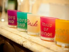 Shot glasses as gifts for the bridesmaids. Perfect!