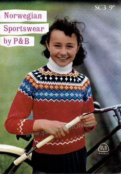 DK Norwegian Fair Isle Sweater for Girls or Boys pattern at ETSY shop called YarnPassionDesigns