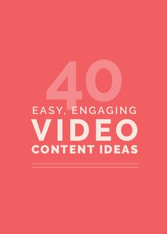 Another element of visual marketing? Videos! Giving you 40 content ideas on the…