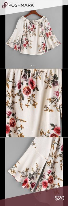 "Boat neck top Florals boat neck bell sleeve top.  Size small.  Measurements include:  bust (38.5""), length (18""), sleeve (17.7""). Semi sheer;  polyester.  Brand new Tops"