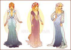 "Art Nouveau Costume Designs II by Hannah-Alexander.deviantart.com on @deviantART - Cinderella, Rapunzel from ""Tangled"", and Elsa from ""Frozen"""