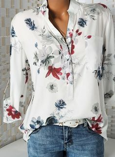 076f8c525258 Floral Casual Stand Collar Long Sleeve Blouses (01645326020) Blouse Styles