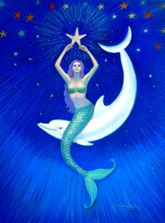 Mermaid art Dolphin Moon sea Goddess fantasy print poster of painting by Sue Halstenberg USD) by HalstenbergStudio Mermaid Images, Mermaid Pictures, Mermaid Art, Mermaid Paintings, Fantasy Kunst, Fantasy Art, Moon Sea, Kunst Poster, Mermaids And Mermen