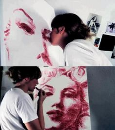 Natalie Irish is a good kisser! This talented artist paints with her lips.
