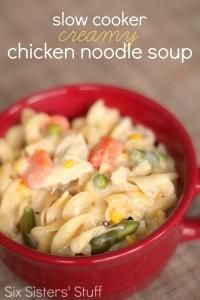 Six Sisters Slow Cooker Creamy Chicken Noodle Soup. This is so easy and your slow cooker does all the work! #SixSistersStuff
