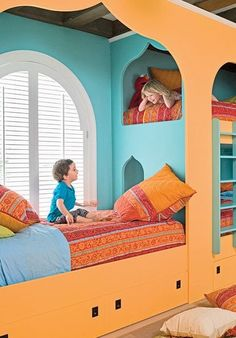 Built In bunk beds.  Also cool as another reading or hang out spot. Love the colors for girls