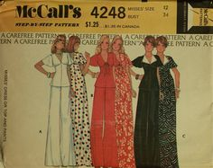 1970s Maxi Dress Top & WideLegged Pants by patterntreasury on Etsy, $14.95