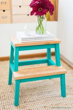 The cutest step stool ever! The most customizable Ikea piece - the mighty, all purpose BEKVAM step stool/side table/extra seat Bekvam Ikea, Bekvam Stool, Banco Ikea, Ikea Step Stool, Step Stools, Diy Stool, Bar Stools, Painted Furniture, Diy Furniture