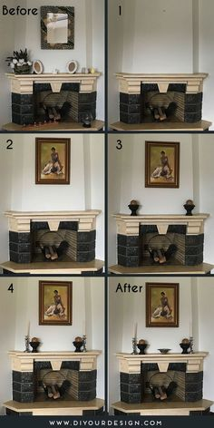 The number one rule to create a formal feeling on the fireplace mantel is to use symmetry. Using the same items on both sides of your fireplace mantel is the easiest way to do this. It helps us to declutter accessory choices and creates eye-pleasing combinations every single time. These formal symmetry compositions for fireplaces are perfect for Traditional, Modern French, English Country, Transitional, and Mediterranean style interiors. Start the Challenge. #fireplace #mantel #decorchallenge