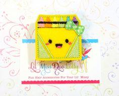 Crayon Box ID Badge-Embroidered Badge Reel-School ID Badge-Felt Applique-Retractable ID Badge Holde-Office-Badge Reel Clip- (Set of 1)