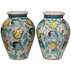 Large Pair Vintage Italian Pottery Faience Majolica Vases Urns  | From a unique collection of antique and modern urns at https://www.1stdibs.com/furniture/building-garden/urns/