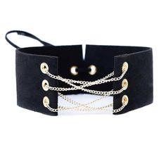 Nova glamorous black velvet colar apelativo chain link choker com correntes de ouro sexy lace up gargantilhas colares chocker 8 cores