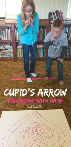 Valentine's Day STEM- Cupid's Arrow Math  Learning Game via Karyn ~ Teach Beside Me