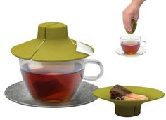 Tea Bag Buddy - Silicone Cup Cover - Keep Hot, Secure, Squeezer & Holder