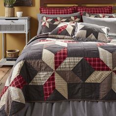Shop our LARGE selection of VHC Brands, Olivia's Heartland and Donna Sharp quilts, shams, pillows, throws and bed skirts at the BEST prices online. Save Off Most Quilts Rustic Quilts, Country Quilts, Colchas Country, Country Decor, Star Bedding, Quilt Bedding, Echo Bedding, Comforter Sets, Twin Quilt