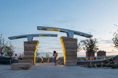 Center Park Gateway Front Gate Design, Main Gate Design, House Front Design, Entrance Design, Entrance Gates, Landscape Concept, Landscape Architecture Design, Architecture Photo, Resume Architecture